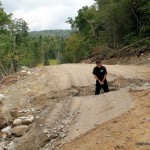 Dan in the road washout
