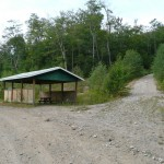 Picnic shelter and 2-track road to Batchawana Mt