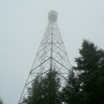 Aldina fire tower in the fog and rain