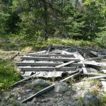 Wreckage of the wooden observation box