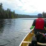 Paddling along the northeast arm of Louisa Lake